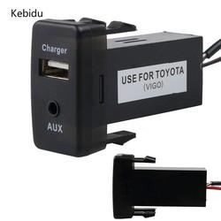 MyXL Kebidu USB + AUX Usb Charger Power Adapter Autolader Usb 2.0 Voor Toyota Corolla Camry Rav4 Yaris Geen Fit Vigo