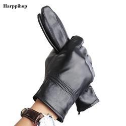 MyXL Harppihop real lederen handschoen warme winter mens handschoenen Lederen Zwart lederen handschoenen mannelijke lederen handschoenen winter G1005