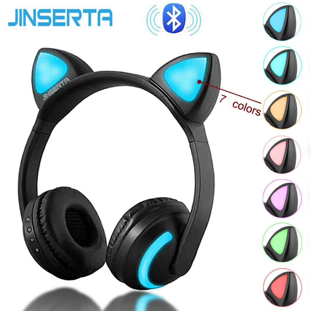 9b8b5142261b5a MyXL JINSERTA Draadloze Bluetooth Cat Ear Hoofdtelefoon Zeven soorten LED  licht Knippert Glowing Cosplay Fancy Kat