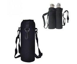1000 ML Waterfles Cover Bag Pouch w/Strap Neopreen Waterfles Carrier Geïsoleerde Tas Pouch Houder Schouderriem zwart