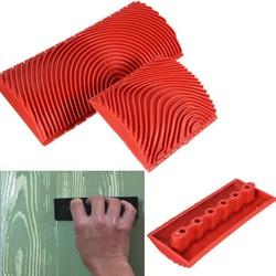 MyXL 2 stks Houtnerf Rubber Patin Schilderij Effecten DIY Graining Schilderen Muur Gereedschap Rood Grote Kleine Decoratieve Outdoor Tool