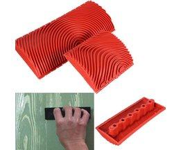 2 stks Houtnerf Rubber Patin Schilderij Effecten DIY Graining Schilderen Muur Gereedschap Rood Grote Kleine Decoratieve Outdoor Tool