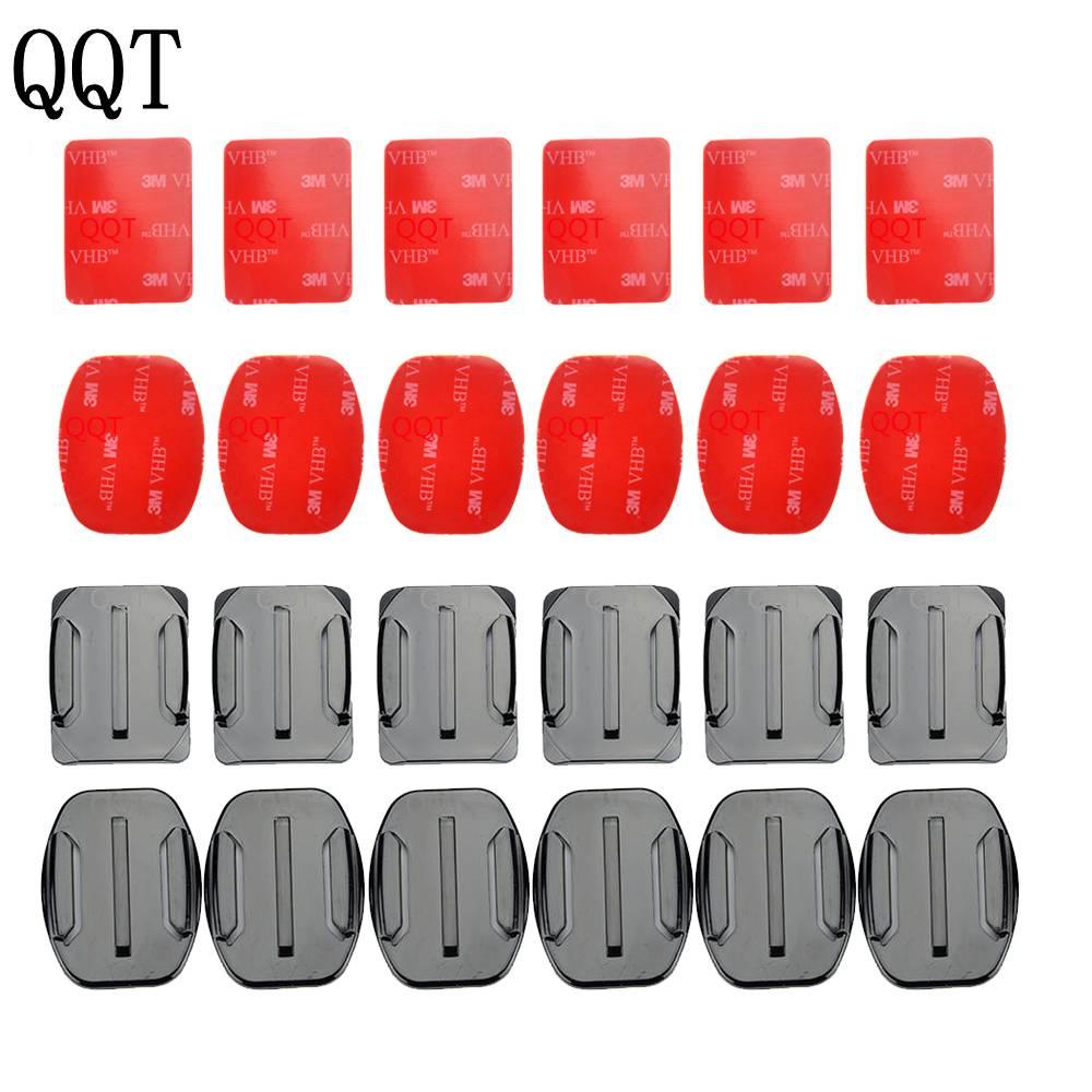 QQT 12 stks/set Helm Accessoires 6 stks Curve + 6 stks Appartement Adhesive Monti + 3 M Sticker Voor Gopro Hero 6 5 4 3 + 3 2
