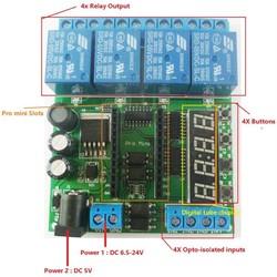 MyXL DC 5-24 V 4 Channel Pro mini PLC Board Relais Shield Module voor Arduino Multifunctionele Vertraging Tijdschakelaar Board