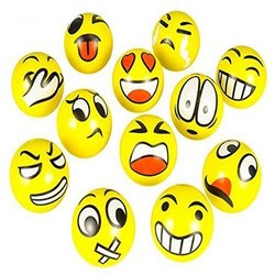MyXL 12 Stks/pak Grappige Emoji Gezichten Squeeze Ball Anti Stress Hand Pols Vinger Oefening Stress Speelgoed Ballen Voor Kids Kinderen