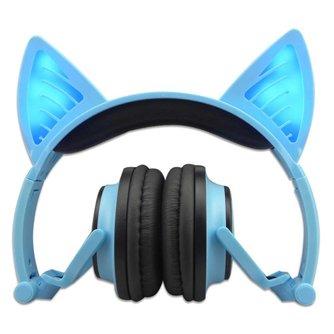 JINSERTA Blauw Bluetooth Draadloze Kat Oor Hoofdtelefoon Gevouwen Hoofdband oortelefoon met LED cosplay Headset Voor Mobiele Telefoon PC Laptop