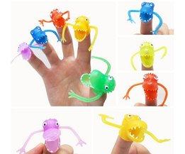 5 stuks/partij Novel plastic handpop verhaal Mini dinosaurus speelgoed met kleine vinger Gashapon speelgoed GYH