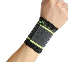Gratis Sizestijl eenvoudige elasticiteit sport veiligheid serie groene streep bandage polssteun ST2543