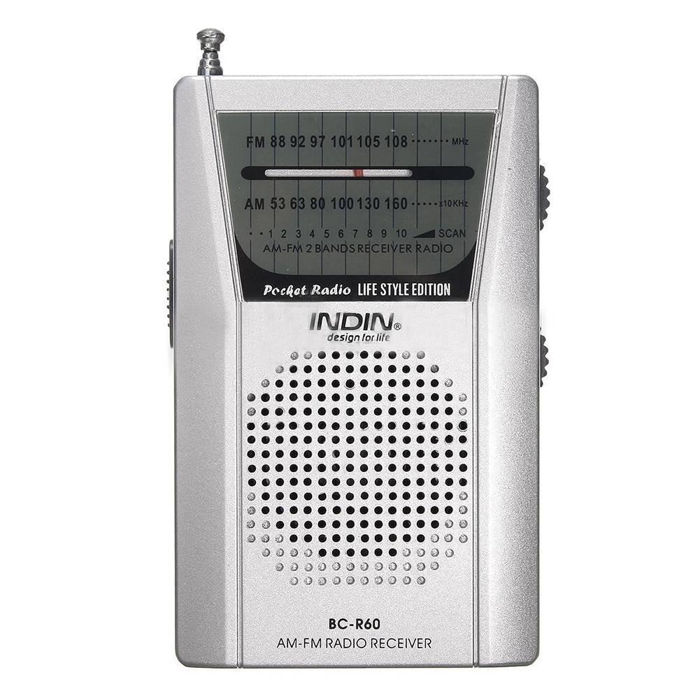 INDIN Pocket Telescopische Antenne Mini AM-FM 2-Band Radio Wereld Ontvanger met Luidspreker Zilver