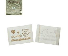 Hoomall100 Stks Wit Handgemaakte Katoen Geweven LabelsWasbare Kleding Etiketten Kledingstuk Tags Labels Gemengde Patroon
