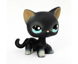 Lps speelgoed #994 zwart staande korte haar kat dier pet shop kitty