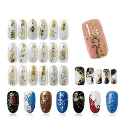MyXL 108 Patroon/Vel Grote Maat Bronzing Nail Stickers Plakken Manicure Goud Zilver Bloemen Sticker & Decal 3D Nail Art decoraties <br />  Blueness