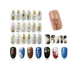 108 Patroon/Vel Grote Maat Bronzing Nail Stickers Plakken Manicure Goud Zilver Bloemen Sticker & Decal 3D Nail Art decoraties <br />  Blueness