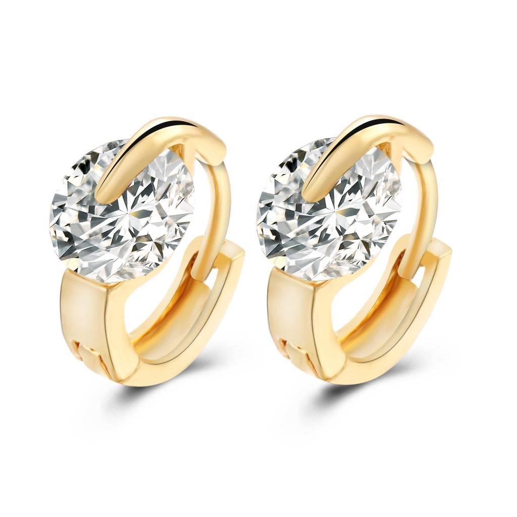 Gouden Sieraden Brinco De Argola Grote Zirkoon Crystal Gold Verzilverd Hoop Earring Voor Vrouwen Lux