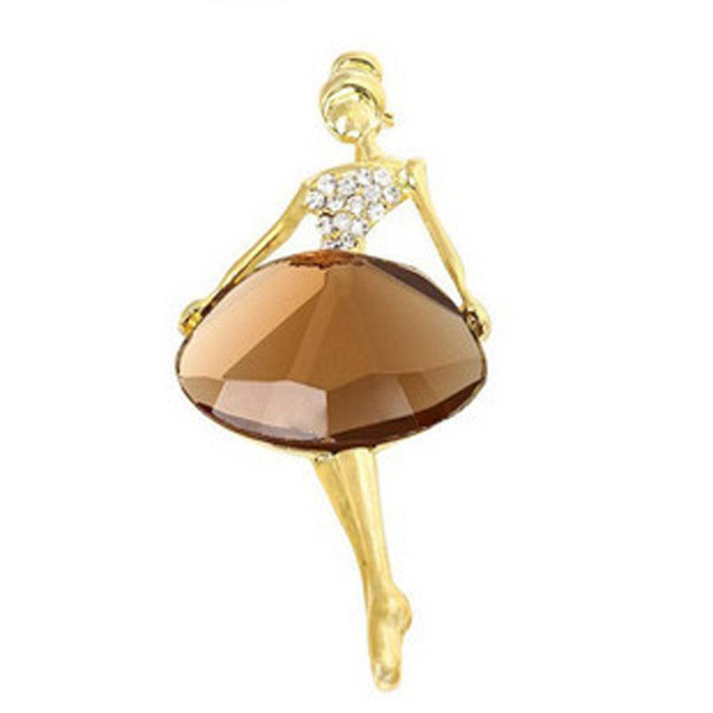 Meisjes Mode Trendy Charmante Mooie Prinses Ballerina Broche Bling Crystal Pins Sieraden Accessoires