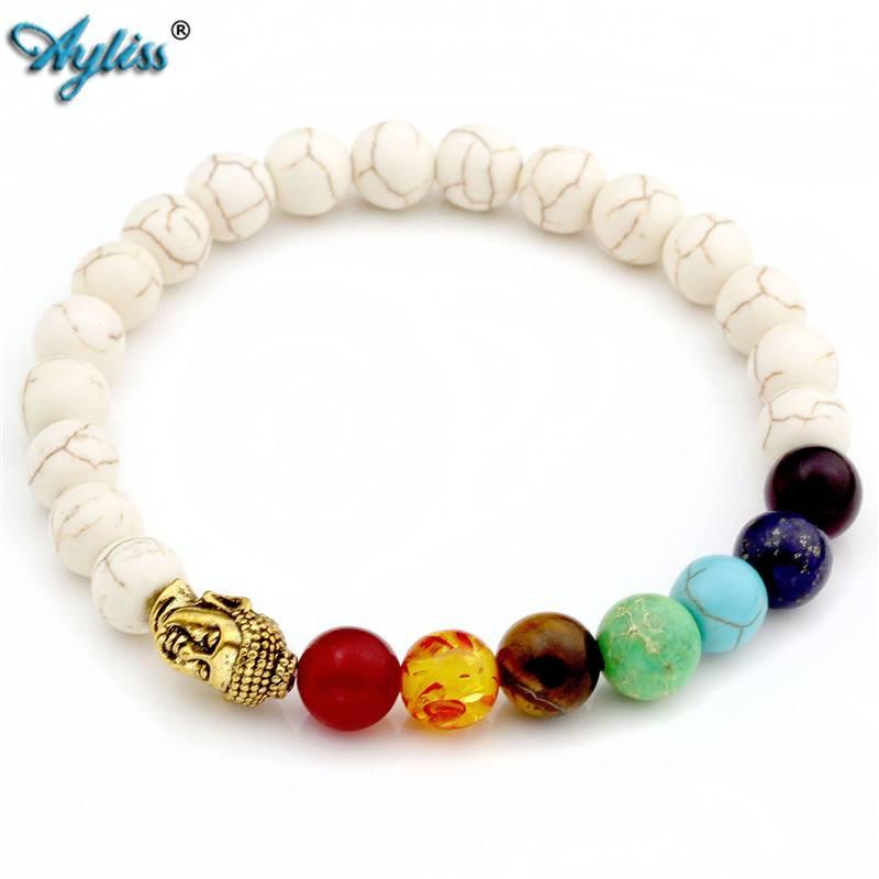 8mm Witte Steen Zwarte Lava Kralen 7 Chakra Healing Balans Boeddha bouddha Armband Yoga Reiki Gebed