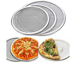 "1 stks Aluminium Netto Platte Mesh Pizza Screen Ronde Bakken Lade Keuken Bakken Gereedschap 10 ""12"" <br />  faroot"