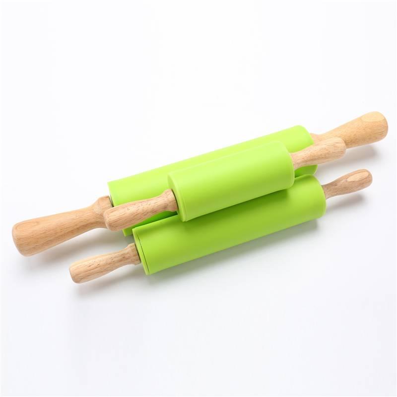 1 StukDeegroller Woondecoratie Kitichen Koken Gereedschap Hout Handvat Groen Siliconen Deegrollers