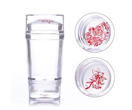Double-ended Clear Jelly Siliconen Stamper met Schraper 2.2 cm 2.7 cm Stamper Hoofd Stempelen Nail Art Tool Set <br />  Born Pretty