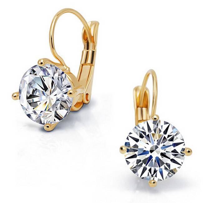 Gouden Sieraden Grote Zirkoonkristal Goud & Zilver Kleur Oorringen voor Vrouwen Luxe Bruiloft Bruids