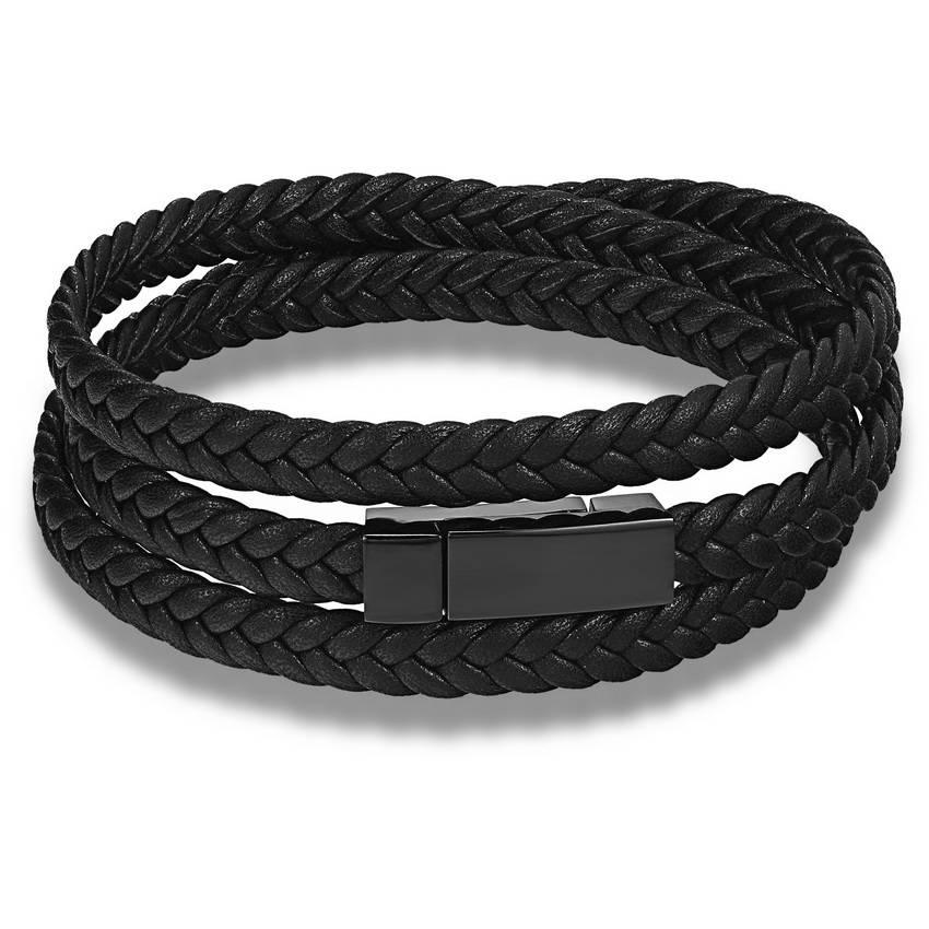 Mode Mannen Lederen Armband Wrap Weave Armbanden voor Mannen Rvs Zwart Magnetische Punk Manchet Char