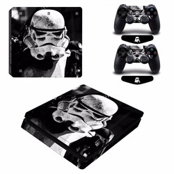 MyXL Star Wars Stormtrooper Vinyl Decal PS4 Slim Skin Sticker voor PlayStation 4 Slim Console 2 Controllers Gratis LED Licht Bar <br />  ARRKEO