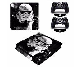 Star Wars Stormtrooper Vinyl Decal PS4 Slim Skin Sticker voor PlayStation 4 Slim Console 2 Controllers Gratis LED Licht Bar <br />  ARRKEO