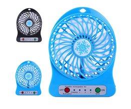 Mini 4 Blade Fan Draagbare Oplaadbare LED Fan luchtkoeler Mini Operated Bureau USB Opladen Rustige Werk Home Office 18650 batterij <br />  sannysis
