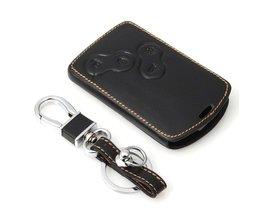 Lederen Sleutel Case Cover Houder met Sleutelhanger Voor Renault Koleos Laguna 2 3 Megane 1 2 3 Sandero Scenic Captur Clio Stofdoek Fluence <br />  Auzan