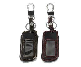 Lederen Auto Afstandsbediening Sleutel Case Cover met Sleutelhanger Key Protector voor Starline A93 A63 Twee Weg Auto Alarm <br />  Auzan