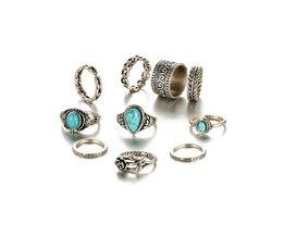 ALS ME Retro Midi Ringen Set Vrouwen Antiek Zilver kleur grote Blauwe Steen Bloemen Ringen Bohemian Ring Set Sieraden Anillos 10 stks/set