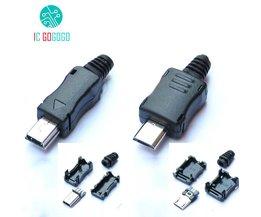 10 stks Mini Micro USB Mannelijk Connector Plug Interface DIY Kits Datakabel Opladen Draad Terminal Blok Adapter Charger Socket