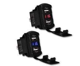 12-30 V 4.2A Dual Usb Autolader Adapter Socket Usb Charger Waterdichte LED Voltmeter Adapter Voor vrachtwagen Motorfiets