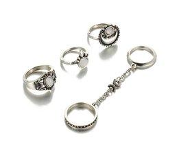 ALS ME Etnische Turkse Maan Zon Vinger Ringen Set Natuurlijke Opaal steen Schakelkettingen Midi Ringen Sieraden Voor Vrouwen Antieke Goud Kleur