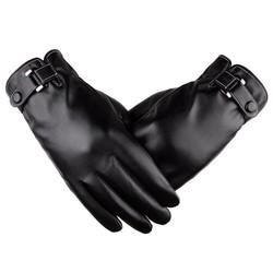 MyXL Mannen Handschoenen Zwart Plus Fluwelen Wanten Elastische Volledige Vinger Touchscreen Winddicht Guantes Mannelijke Winter Lederen Handschoenen Business