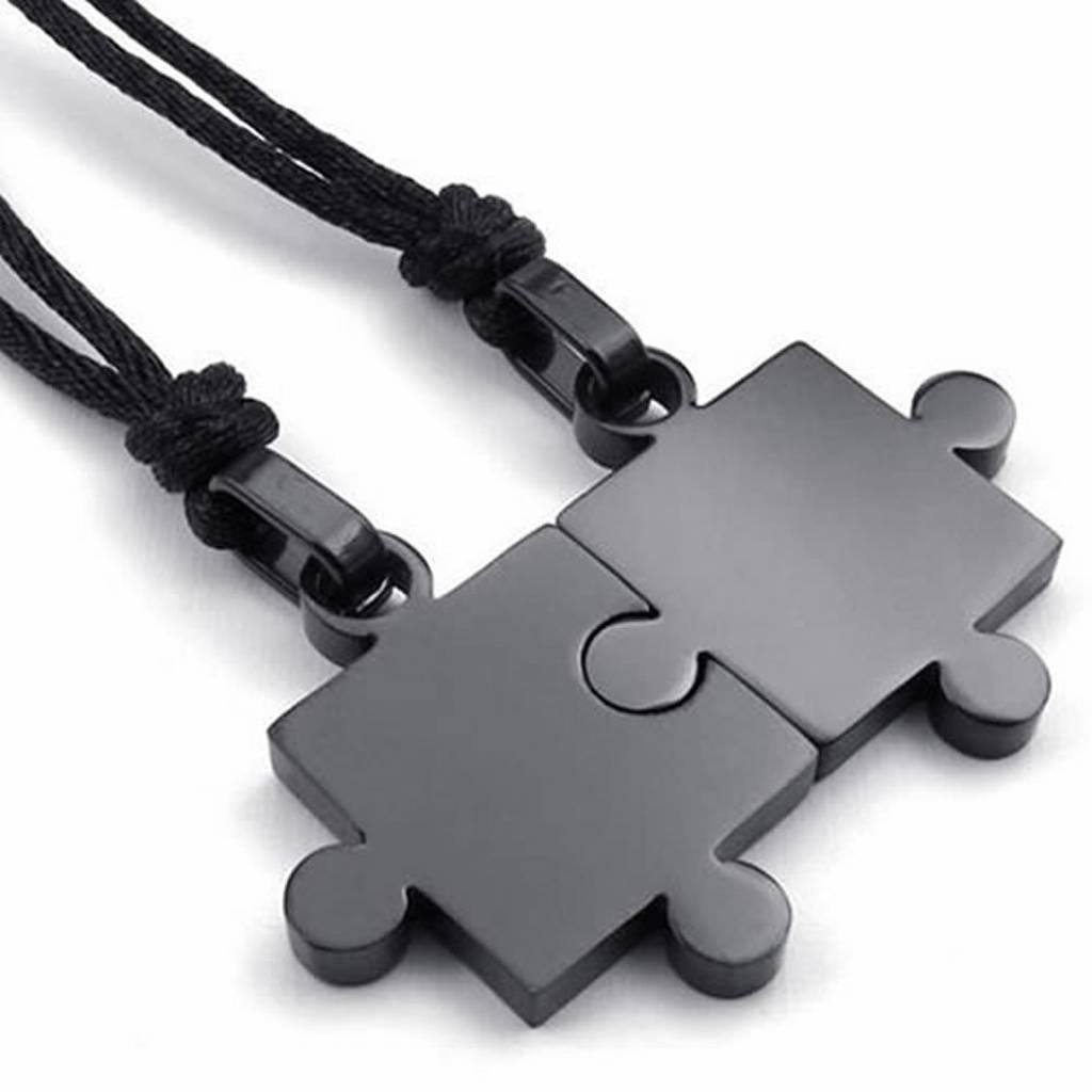 2 stks Heren Dames Koppels Rvs Puzzel Hanger Liefde Ketting Set, zwart Zilver
