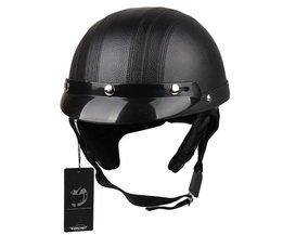 CARCHET Motorhelm Unisex Fiets Helmen Motorfiets Motor Open Gezicht Half Helm + Vizier + Veiligheidsbril