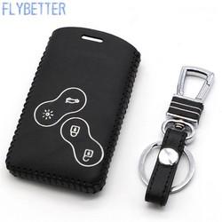 MyXL FLYBETTER Lederen Afstandsbediening Sleutelhanger Cover Case Voor Renault Koleos/Megane/Talisman 4 Knop Smart Key houder L1675