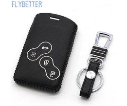 FLYBETTER Lederen Afstandsbediening Sleutelhanger Cover Case Voor Renault Koleos/Megane/Talisman 4 Knop Smart Key houder L1675