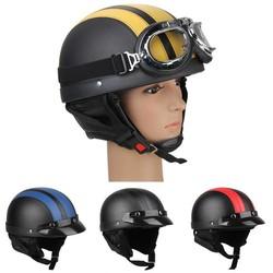 MyXL CARCHET Motorfiets Motor Open Helm Zwart + Vizier + Goggles Vrouwen Mannen UnisexStijlKoop Motor Half helmen