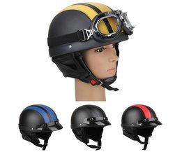 CARCHET Motorfiets Motor Open Helm Zwart + Vizier + Goggles Vrouwen Mannen UnisexStijlKoop Motor Half helmen