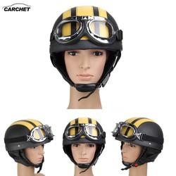 MyXL CARCHET Motorhelm Open Vizier Motorcross Motor Helmen Met Bril Sjaal Verstelbare Voor Haas Retro Outdoor Fietsen