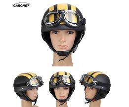 CARCHET Motorhelm Open Vizier Motorcross Motor Helmen Met Bril Sjaal Verstelbare Voor Haas Retro Outdoor Fietsen