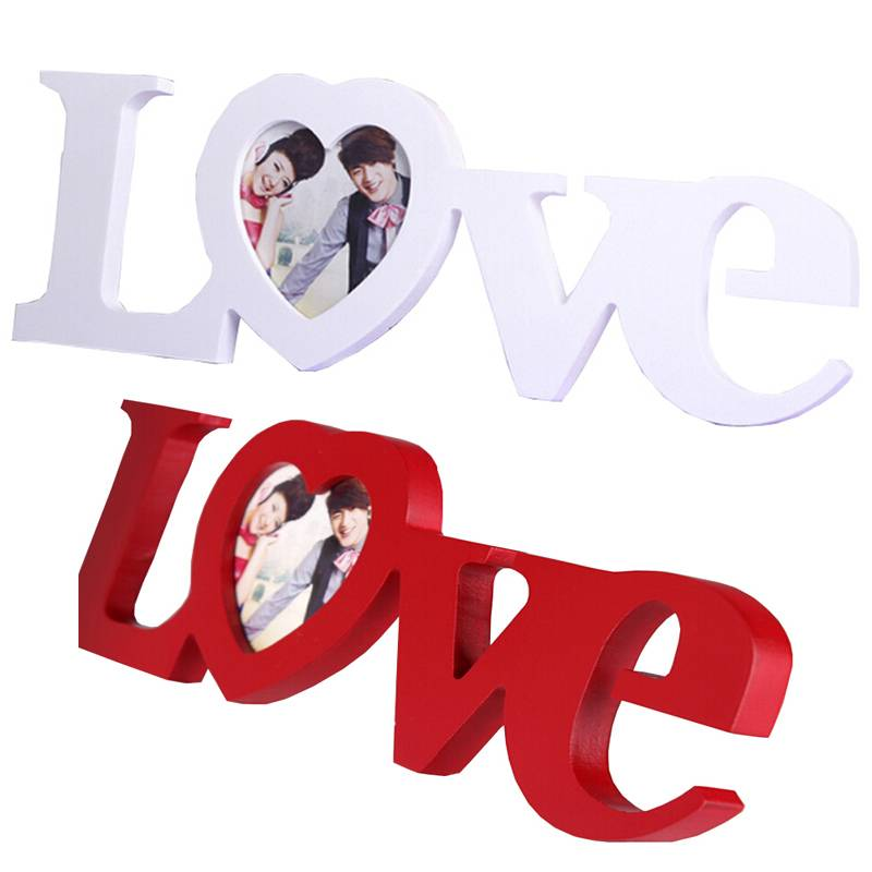NAI YUE Liefde Vorm Fotolijst Home Decor Decoratie Slaapkamer Bureau Ornament Houten Wedding Casamen