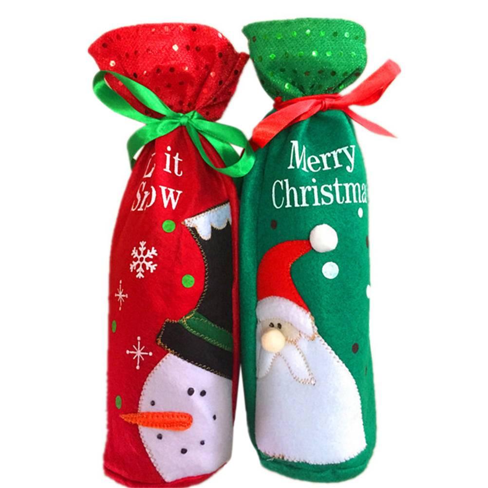 1 st Wijnfles Cover Tassen Kerst Tafel Decoratie Thuis Party Decors Kerstman nieuwjaar Party Decors