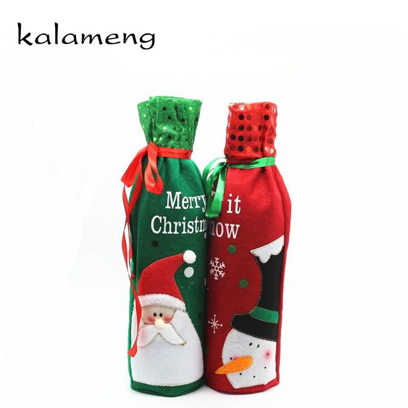 Rode Wijn Cover Tassen Kerst Fles Set Ghirlanda Natale Porta Noel Diner Tafeldecoratie Home Party De