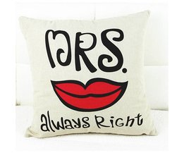 1 st 42*43 cm Mr & Mrs Altijd Rechts Snor Lip Kussensloop Katoen Decoratieve Paar Kussensloop Sierkussen Cover PC602712