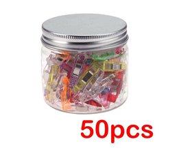 50 Stks/set Gemengde Kleur Plastic Wonder Clips Houder voor DIY Patchwork Stof Quilten Craft Naaien Breien Kledingstuk Clips Met Doos