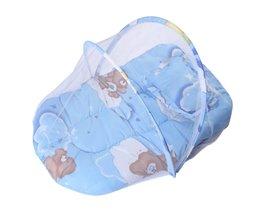 Zomer Baby Mosquito Insect Cradle Netto Met Draagbare Vouwen Canopy Kussen + Leuke Kussen Matras Baby Beddengoed Accessoires