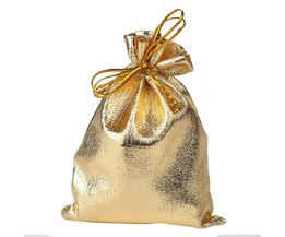 Ourwarm 50 stks 7*9 cm Goud Zilver Kerst ZakBags Metallic Folie Organza Zakjes Wedding Party FavorBags